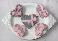 Galletas rosa y gris
