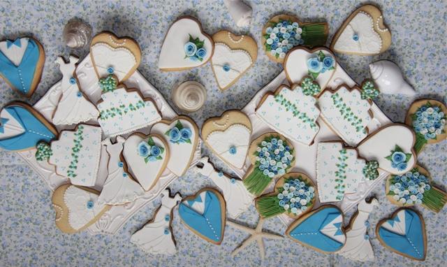 Galletas de boda azul