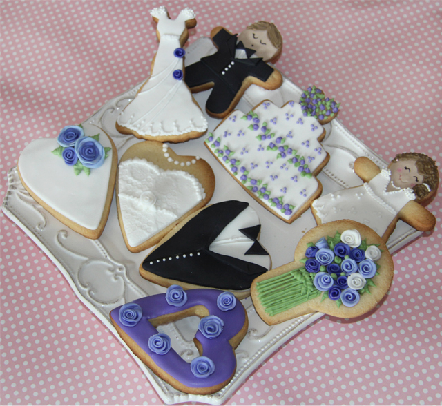 Galletas de boda violeta