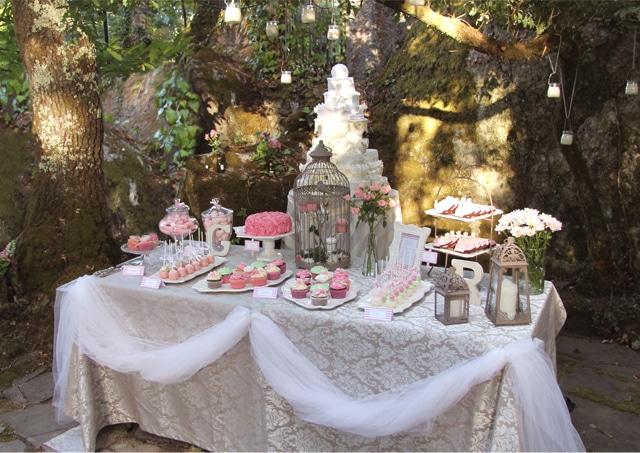 Mesa de dulce en rosa for Dulce boda