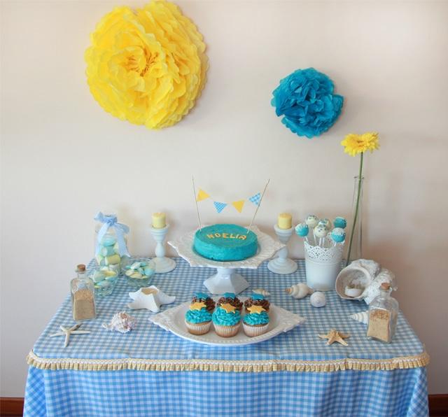 Minimesa dulce azul y amarilla for Mesas dulces cumpleanos