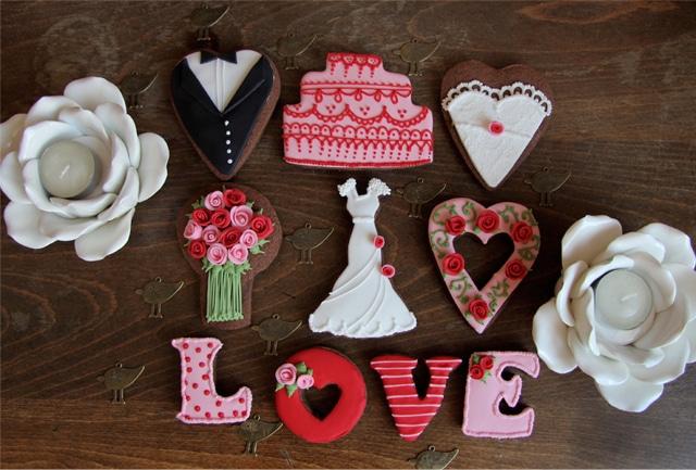 Galletas de boda rojo y rosa