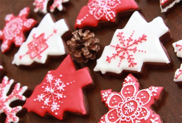 Galletas navidad blancas y rojas