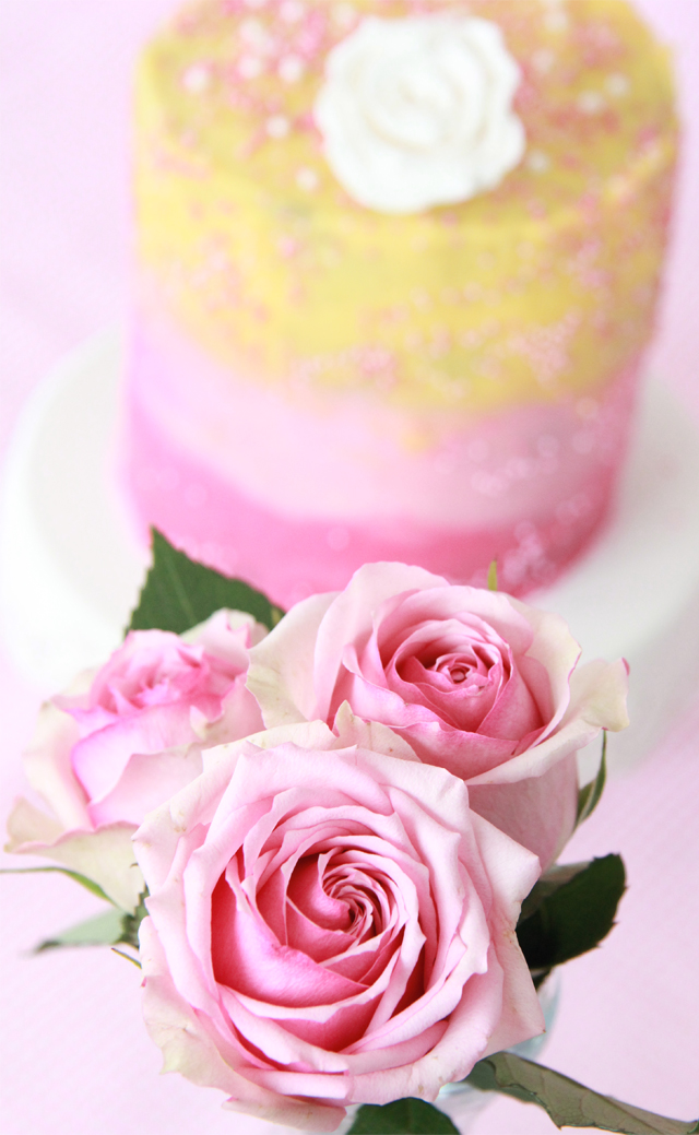 Tarta degradado rosa amarillo