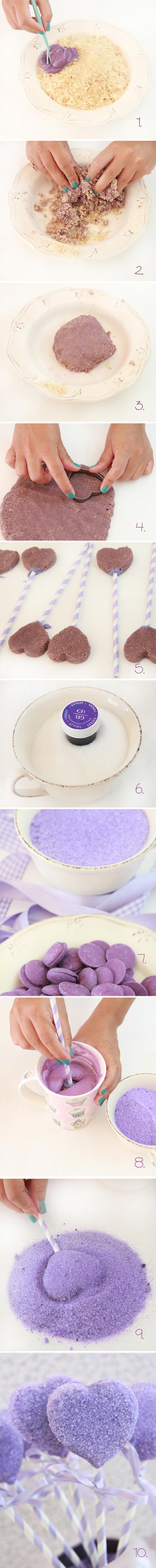 Cake Pops corazón violeta