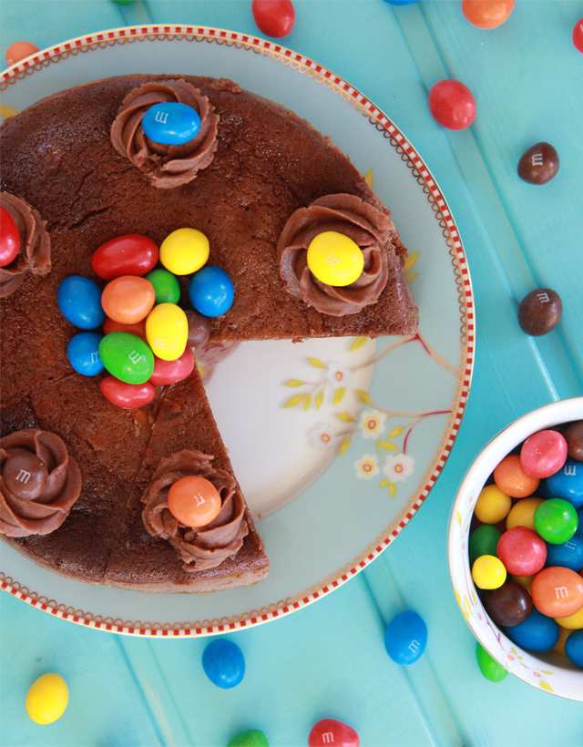 Tarta de queso, chocolate y M&M´s
