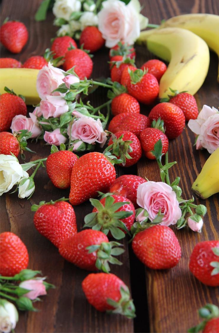 Helado de fresa saludable
