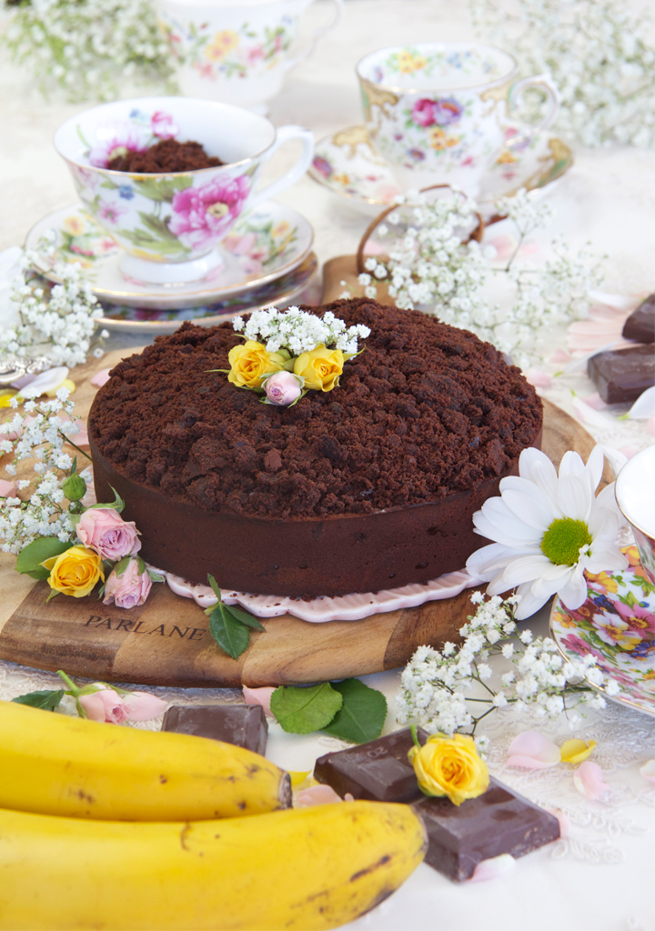 Tarta de chocolate rellena de mascarpone y plátano